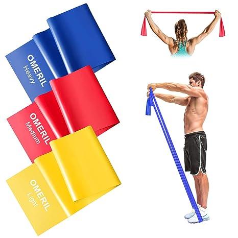 OMERIL Bandas Elasticas Fitness, 1.5M/2M Cintas Elasticas con 3 Niveles de Resistencia, 3 Piezas Bandas de Resistencia para Yoga, Pilates, Crossfit, ...