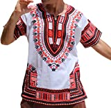 RaanPahMuang Brand Unisex Bright African White Dashiki Cotton Shirt #8 Light Red Medium