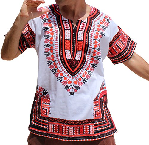 Red Dashiki - RaanPahMuang Brand Unisex Bright African White Dashiki Cotton Shirt #12 Light Red Large