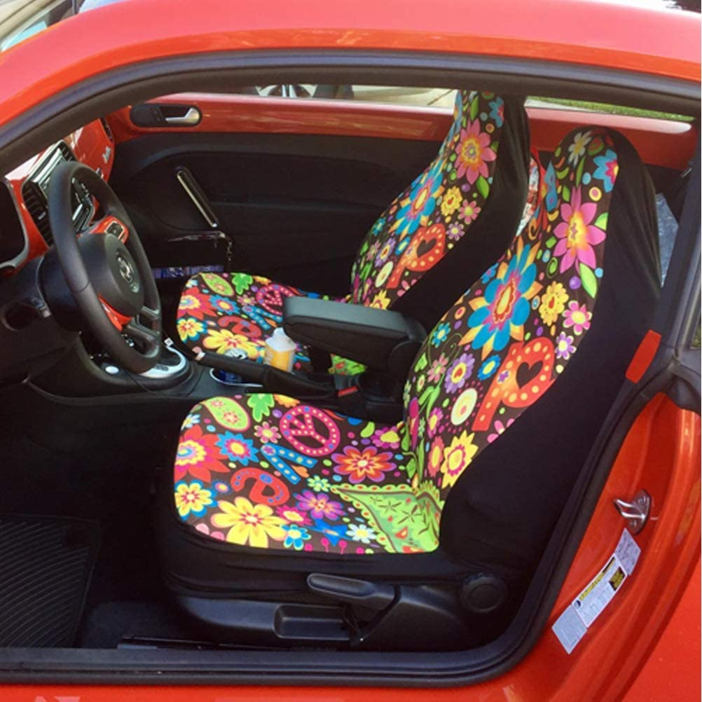 Showudesigns Abstract Swirl Tie Dye Car Seat Cover for Front Only Bright Bucket Seats Covers Protector,Anti-Slip and Durable Set of 2 Universal Fit