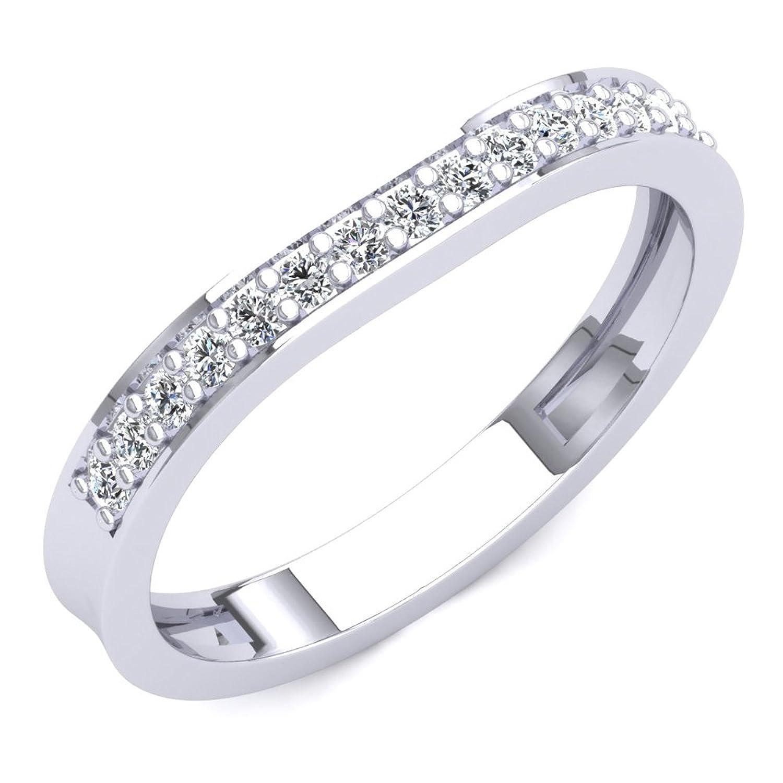 0.20 Carat (ctw) 14K Gold Round Diamond Ladies Stackable Anniversary Wedding Contour Guard Band 1/5 CT