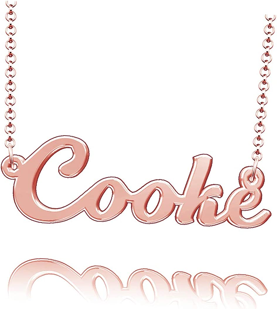 LoEnMe Jewelry Customized Cooke Name Necklace Stainless Steel Plated Custom Made of Last Name Gift for Family