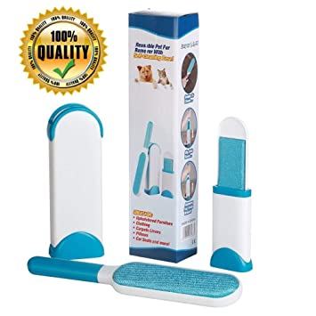 Pet Cat & Dog Hair Lint Remover Brush, Double Side, Self-Cleaning Base
