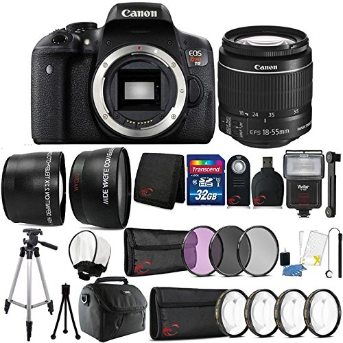 Canon EOS Rebel T6 18MP Digital SLR Camera with 18-55mm Lens and 32GB Accessory Bundle