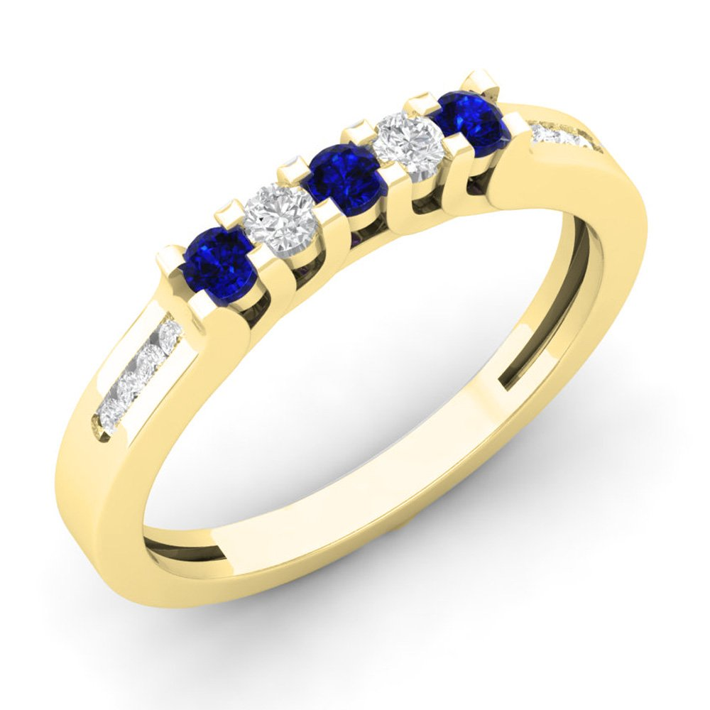 14K Yellow Gold Round Blue Sapphire & White Diamond Ladies Wedding Stackable Guard Band (Size 6.5)