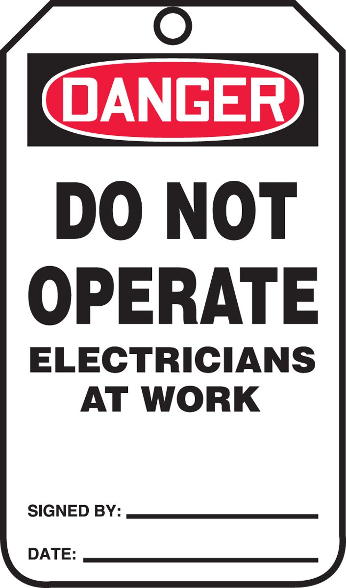 Accuform MDT204CTP PF-Cardstock Safety Tag, Legend''DANGER DO NOT OPERATE ELECTRICIANS AT WORK'', 5.75'' Length x 3.25'' Width x 0.010'' Thickness, Red/Black on White (Pack of 25)