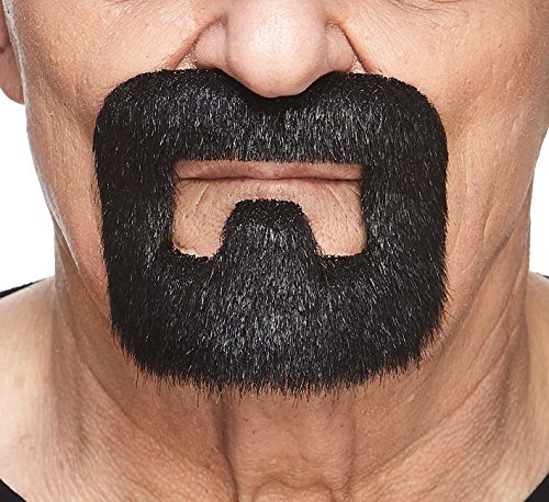Mustaches Self Adhesive, Novelty, Inmate Fake Beard, False Facial Hair, Costume Accessory for Adults, Black Lustrous Color -