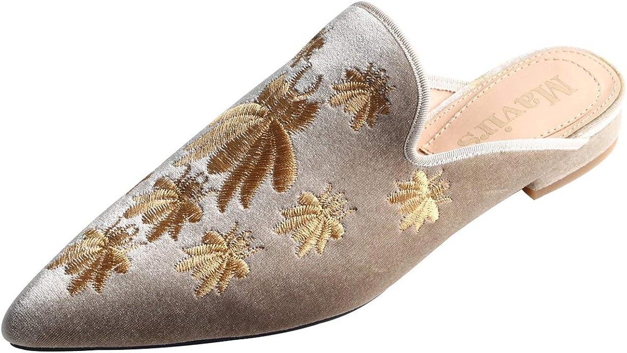 Flats Velvet Loafers Backless Slippers
