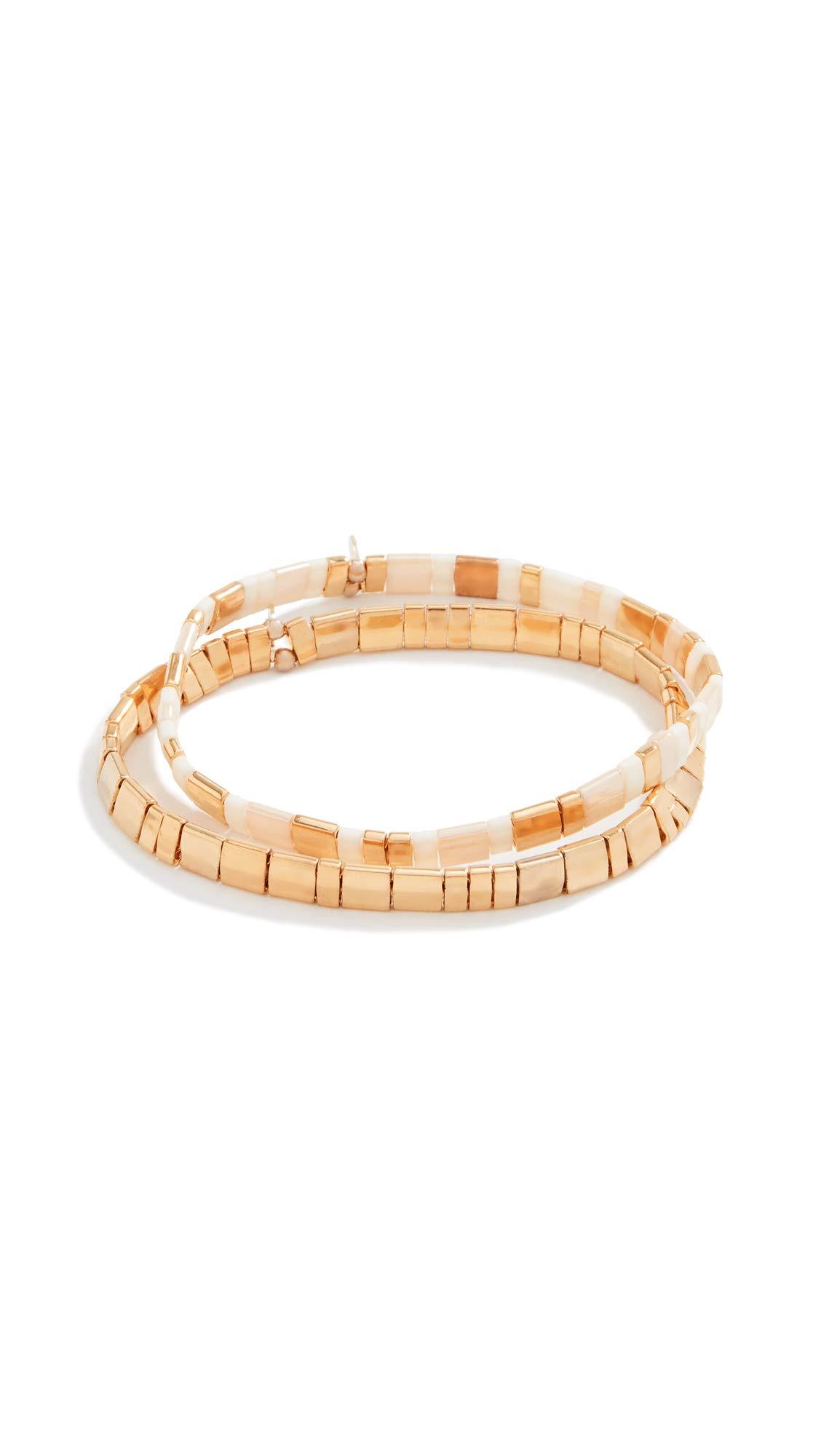 Shashi Women's Tilu Bracelet Set, Gold/Cream, One Size by SHASHI