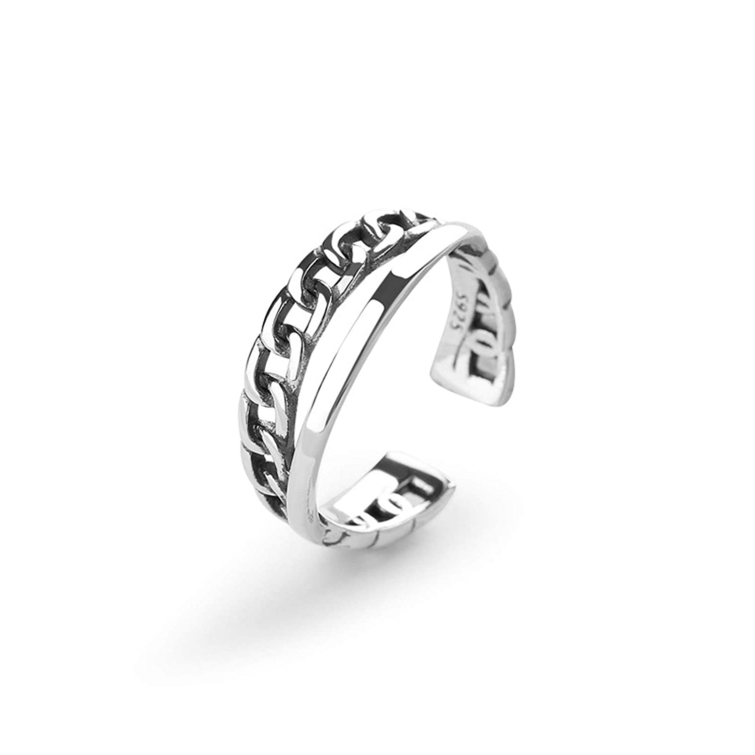 Daesar Sterling Silver Rings for Women Adjustable Ring Double Layer Link Chain Design Ring