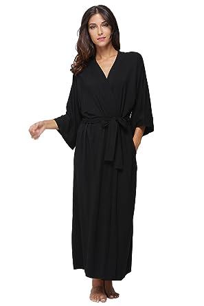 dfd6d8705d KimonoDeals Women s dept Soft Sleepwear Modal Cotton Wrap Bathrobe Long  Kimono Robe