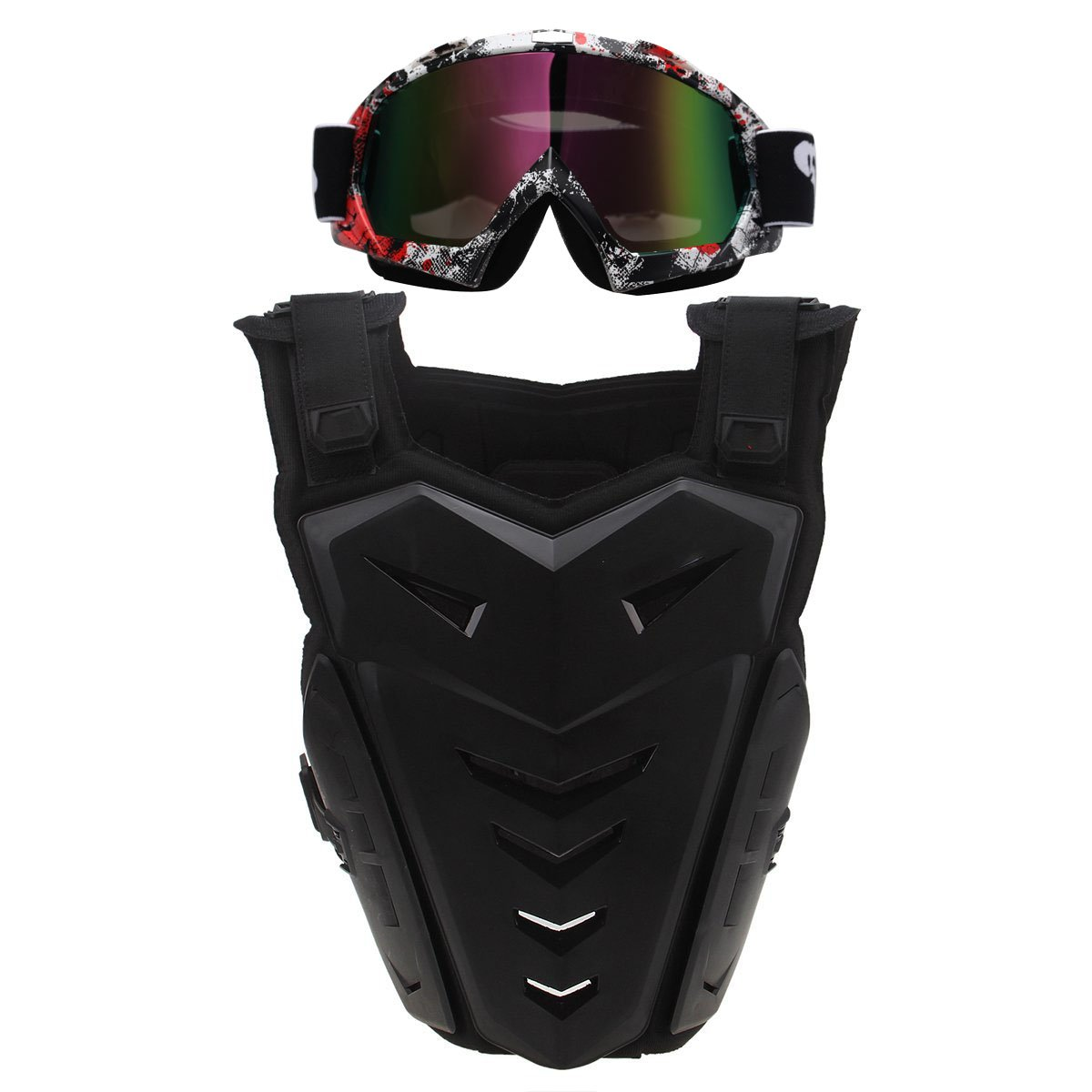 Chest Back Protector with Goggles,POSSBAY Motorcycle Gear Armor Glasses Set L Black for Scooter Motocross Dirt Bike Skiing Riding Cycling Skating