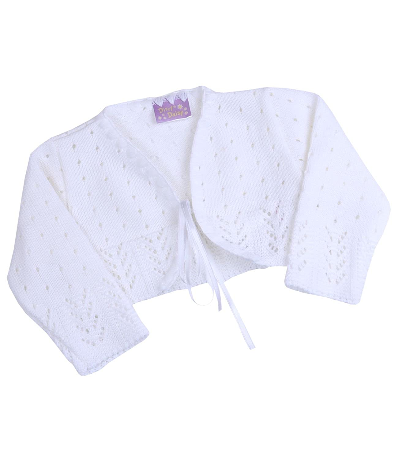 BabyPrem Baby Cardigan Bolero Girls Clothes White Pink Knitted White 18-24 Months BEE021