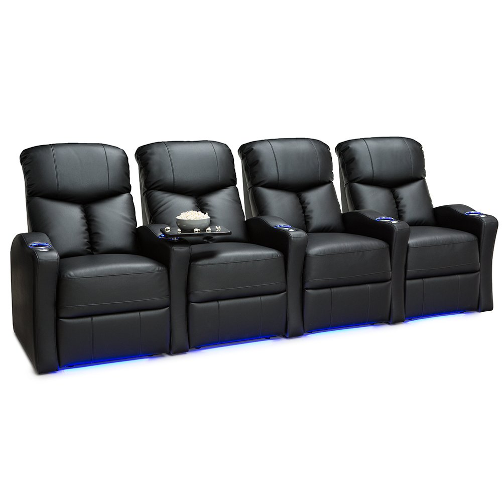 Seatcraft Raleigh Home Theater Seating Power Recline Leather Gel (Row of 4, Black) by SEATCRAFT