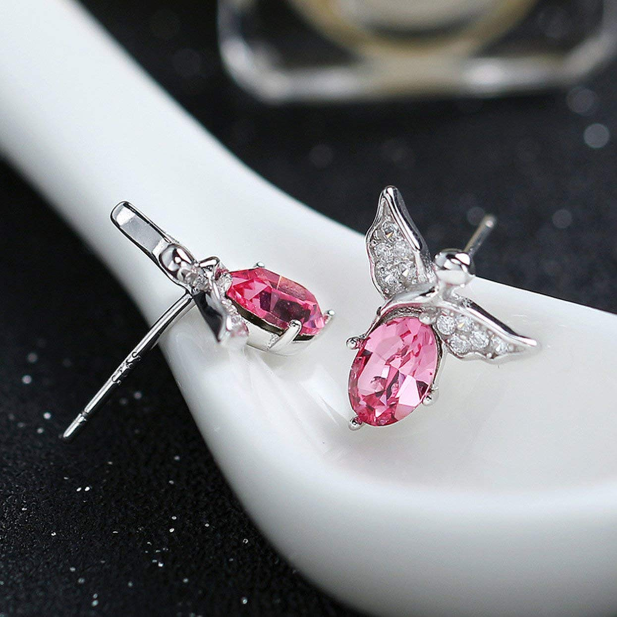 anyilon Crystal Angel Earrings S925 Sterling Silver Stud Earrings with Freshwater Culltured Pearl Crystal for Women Girls