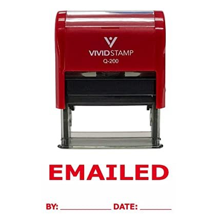 EMAILED By Date Self Inking Rubber Stamp Red Ink Medium