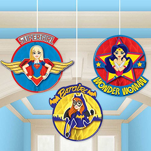 DC Super Hero Girls Honeycomb Decorations (3 Count)