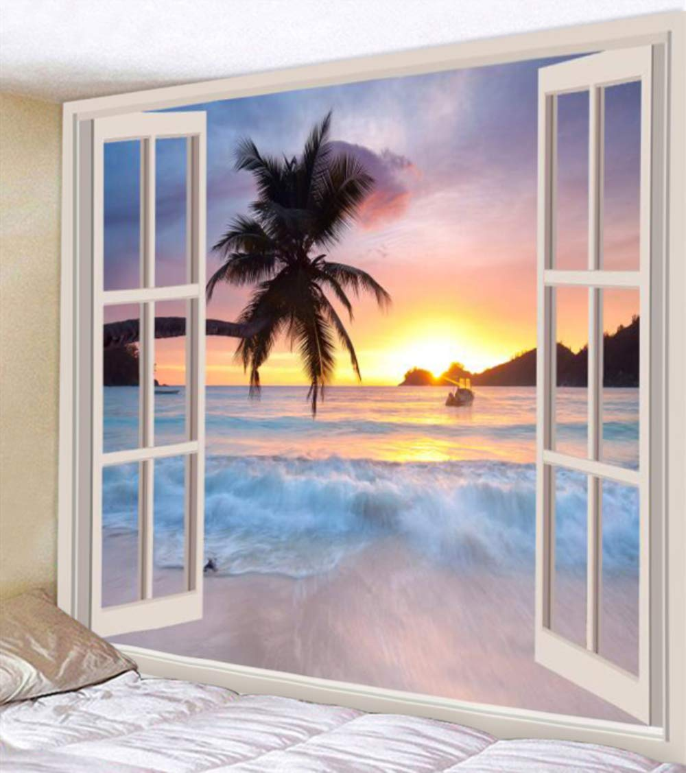 UHUSE Tapestry Wall Hanging, Ocean with Sunset Cloud and Palm Tree Heaven Balcony White Wooden Windows Summer Tropical, Living Room Bedroom Dorm Decor Tapestries