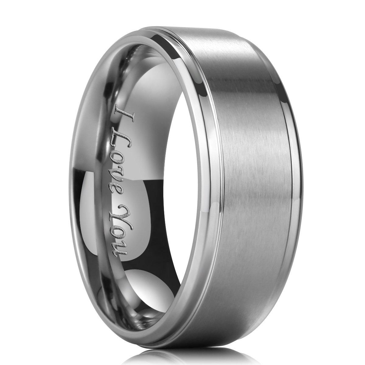 King Will BASIC 9mm Titanium Wedding Ring Matte Finished Wedding Band I Love You Laser 7