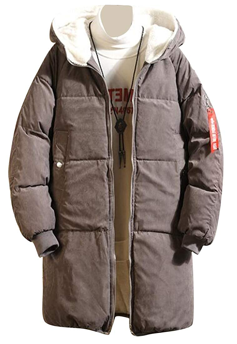 Jofemuho Mens Sherpa Lined Thicker Warm Hoodie Down Quilted Jacket Coat Parka