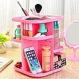 Rotating Makeup Organizer, Korean Style Tabletop Multi Function Large Capacity 360 Degrees Rotating Cosmetics Storage Revolving Makeup Organizer Display Box (Pink)