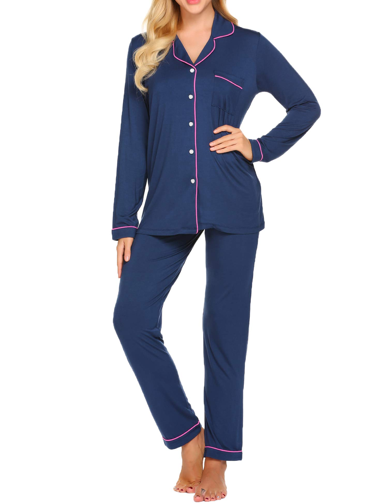 Ekouaer Pajama Set Womens Soft Sleepwear Long Sleeve Pjs Top Long Lounge Pants,Navy,Large