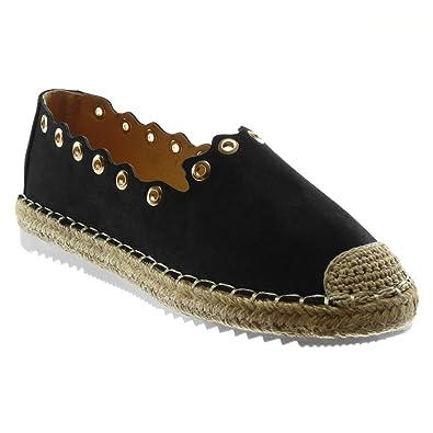 dff47f1e4727 Angkorly - Chaussure Mode Espadrille Slip-on Semelle Basket Femme perforée Corde  tréssé Talon Plat