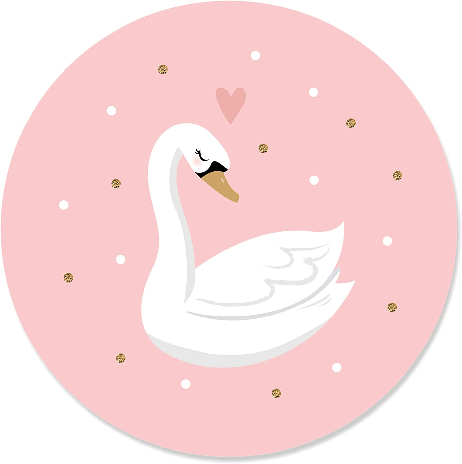 24 Count Swan Soiree White Swan Baby Shower or Birthday Party Circle Sticker Labels