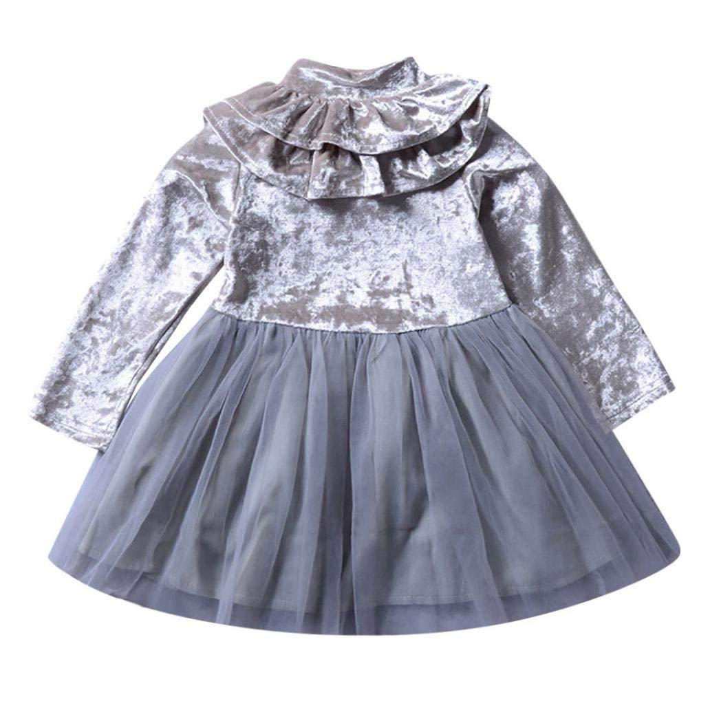 Vestidos niña, ❤ Modaworld Bebé niñas Mangas largas Volantes Vestido sólido niños Ropa Otoño Invierno Vestido de Fiesta Baile Vestido de tutú de Princesa ...