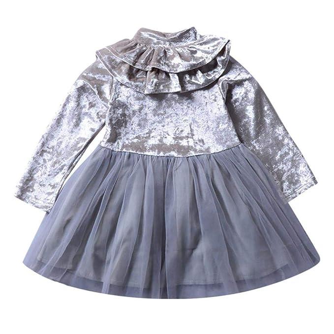Vestidos niña, ❤ Modaworld Bebé niñas Mangas largas Volantes Vestido sólido niños Ropa Otoño