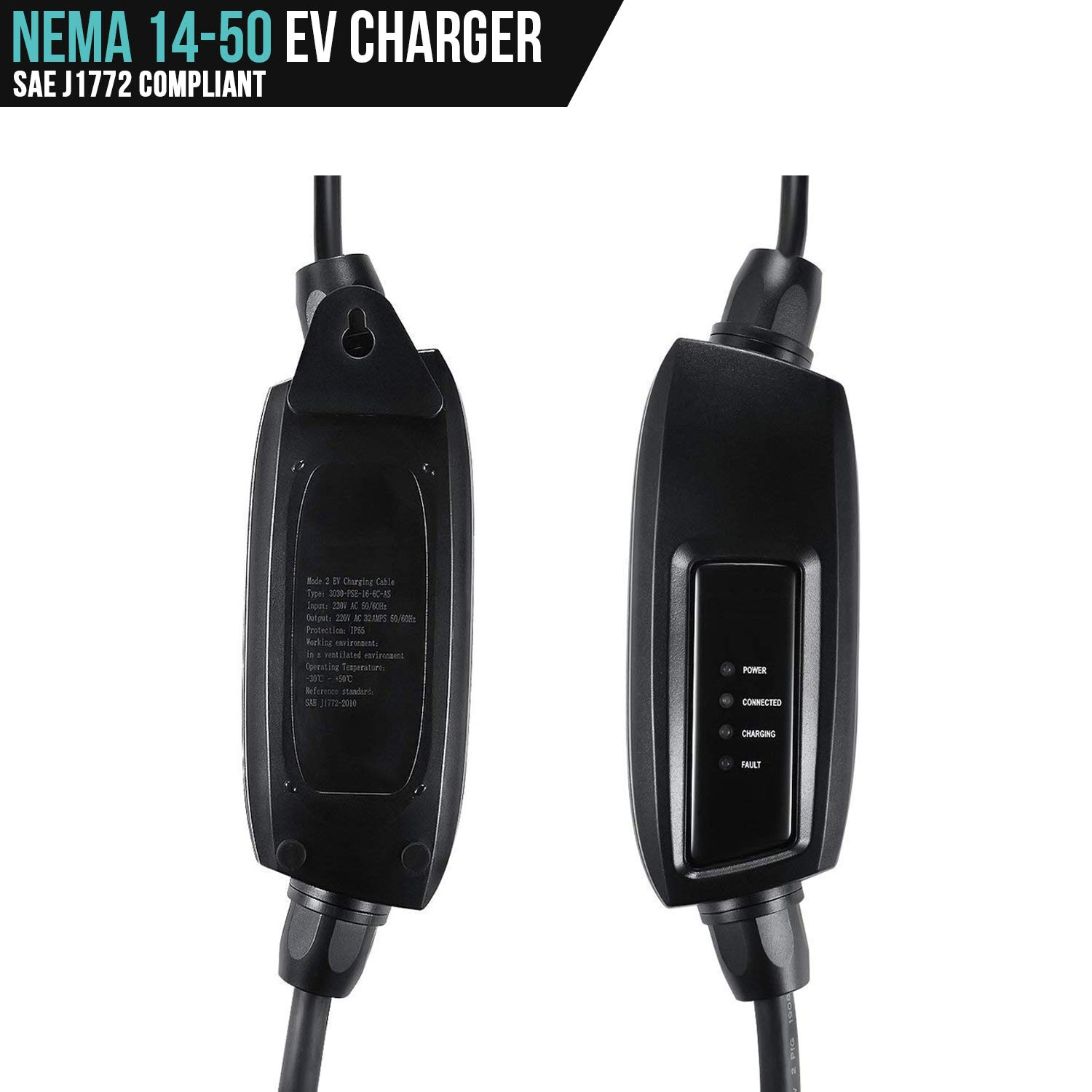 LECTRON 240V 32 Amp Level 2 Electric Vehicle (EV) Charger with 21ft Extension Cord J1772 Cable and NEMA 14-50 Plug by LECTRON (Image #2)