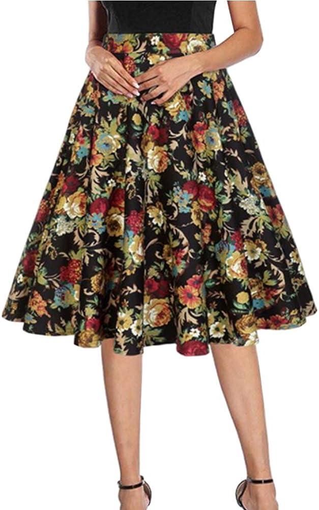 Gtagain Mujeres Vintage Floral Faldas - Retro Clásico Caderas ...