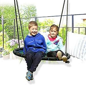 elepawl portátil plegable redondo nailon malla niños para interiores al aire libre Swing hamaca