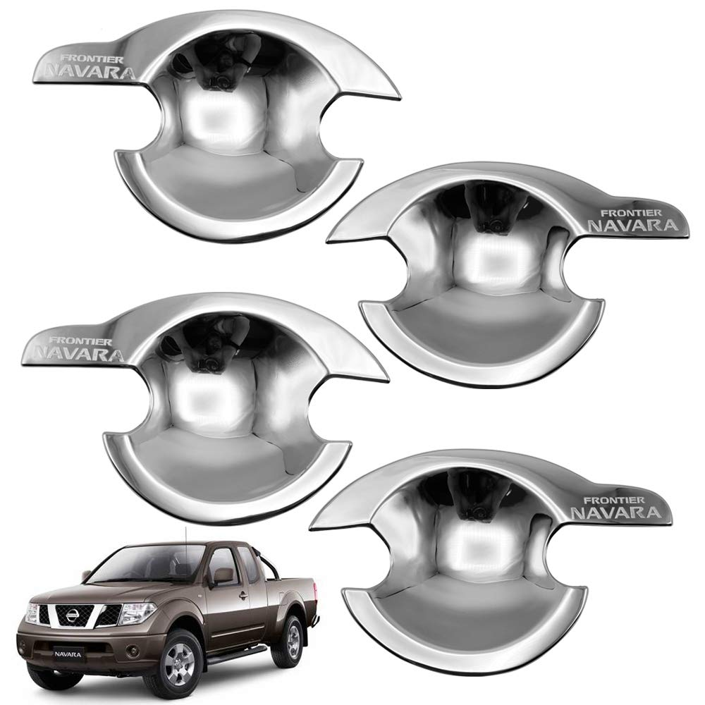 Nonstops Chrome Bowl Insert Handle Cover Chrome Fits Nissan Navara D40 Frontier 2006 14 by Nonstops