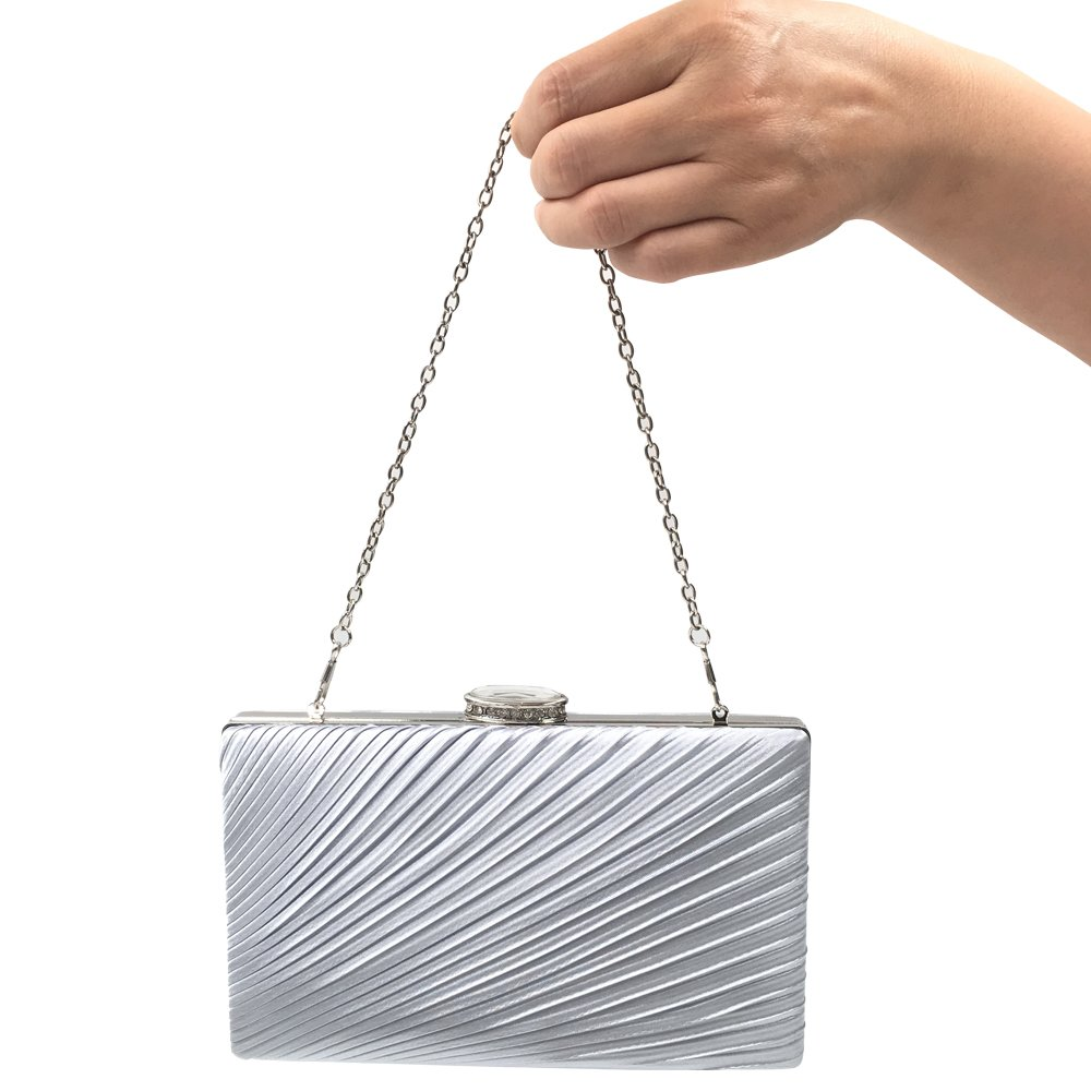 Abbie Home Silver Evening Clutch Cocktail Envelope Handbags in Gorgeous Satin Cover