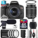 Canon EOS Rebel T6i DSLR Camera with 18-55mm Lens + 2yr Extended Warranty + 32GB Class 10 Memory Card + Macro Filter Kit + Cleaning Kit + UV Filter + Cleaning Brush - International Version