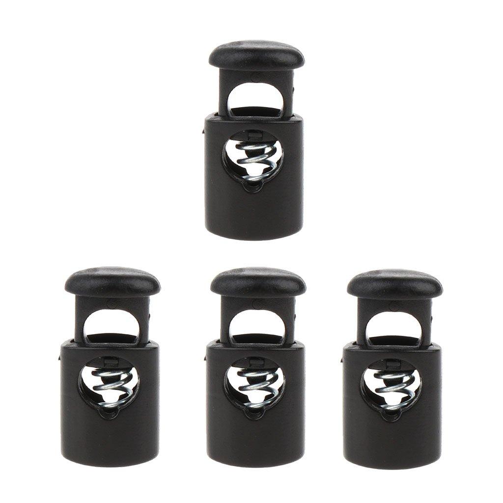 MagiDeal 4 Piezas Tope de Bloqueo Cuerda Tope Barril Palanca Plástico Negro non-brand