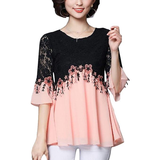 Amazon.com: Blusa de gasa de encaje floral suelta para mujer ...