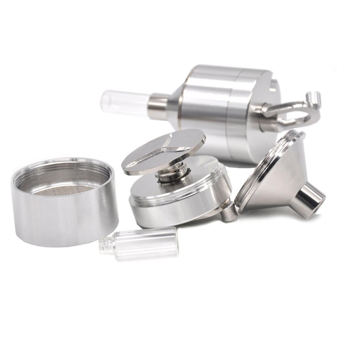 Matel Herb Grinder, Funnel Mill Grinder Metal Aluminium Hand Pollinator Snuff Titanium Press Crusher Dinglong