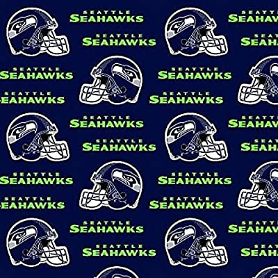 Amazon.com  Seattle Seahawks 100% Cotton NFL Designer Fabric by the Yard  (0.9m) Football Helmet and team logo Navy   Green 60