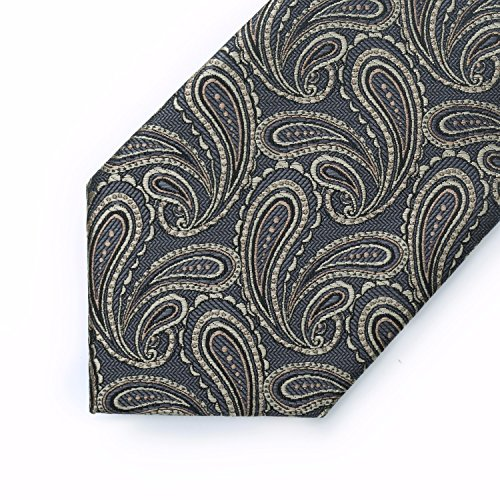 amp; Gold Necktie Men's Square Men's Set Pocket amp; BIYINI Classic Paisley Tie Woven Jacquard Grey Handkerchief ZnAzqw