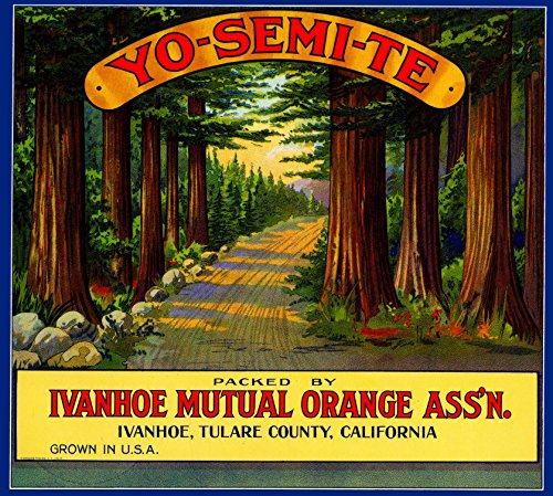 (A SLICE IN TIME Ivanhoe, Tulare County Yosemite Orange Citrus Fruit Crate Box Label Art Print )