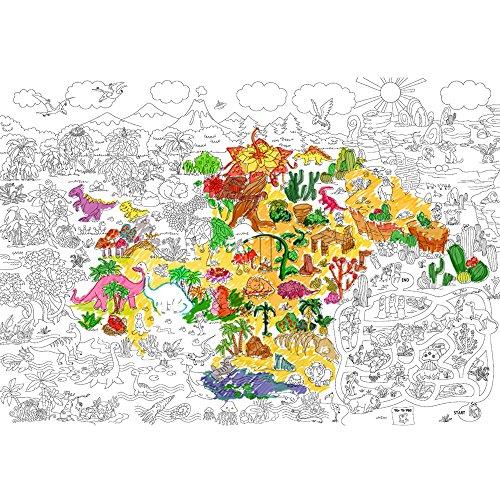 Jumbo Color Doodle - Jar Melo Super Painter; Giant Coloring Poster; Prehistoric Era; Doodle Art for Children;45.3