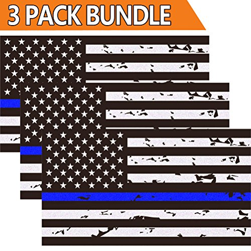 3 Pack Reflective New Tattered Thin Blue Line US Flag Decal Stickers for Cars & Trucks, 5 x 2.7 inch American USA Flag Decal Sticker Honoring Police Law Enforcement Vinyl (New Car Sticker Decal)