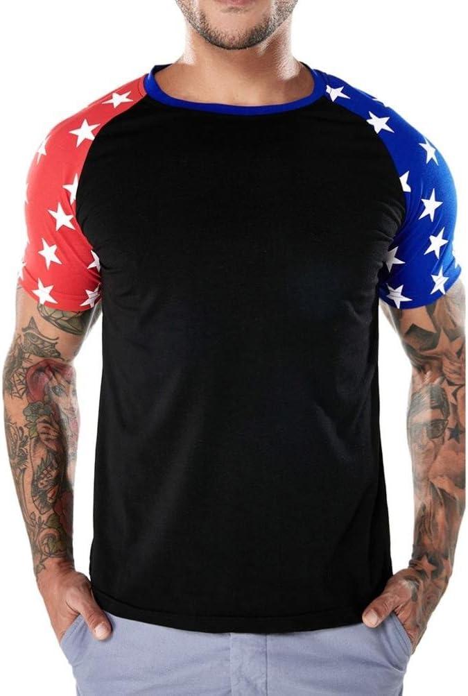 Elogoog Blusa para Hombre, Moda Bandera Americana Camiseta Patriótica Vintage Camisas Hipster Manga Corta Splice Tee Tops, XXL, Negro: Amazon.es: Deportes y aire libre