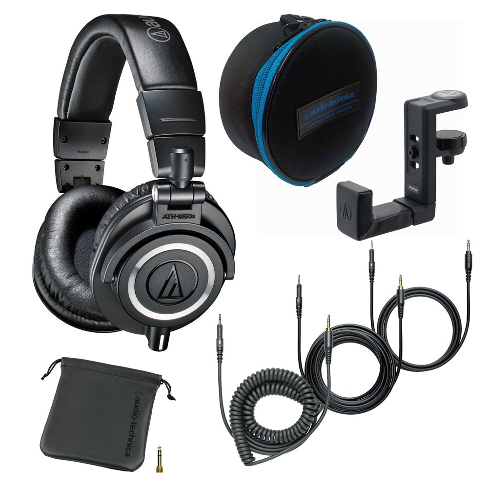 Audio-Technica ATH-M50x Monitor Headphones (Black) with Soft Case and Hanger 611jETOEDcL