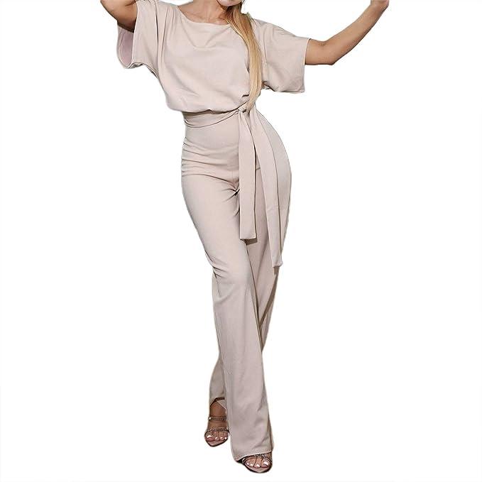 Amazon.com: TSWRK - Traje de pantalón palazzo de talle alto ...