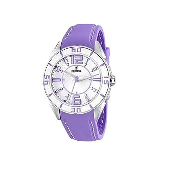 FESTINA F16492/4 - Reloj de Mujer de Cuarzo, Correa de plástico Color Morado: Festina: Amazon.es: Relojes