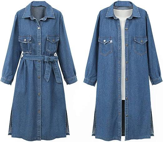 June Women's Long Sleeved Denim Dress with Belt Button Down Jeans ...