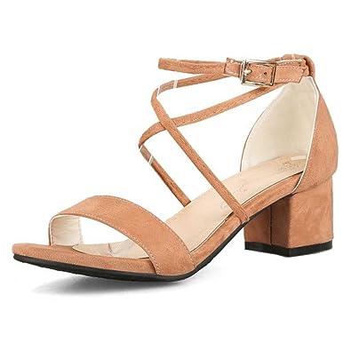 SMILICE Damen Blockabsatz T Strap Sandalen Sommer Sandalen mit Open Toe